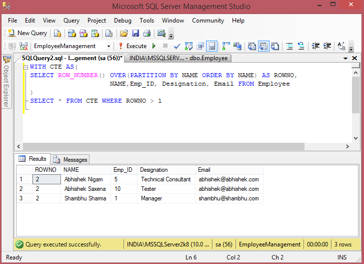 Remove Duplicate Records from SQL Server Table using Common Table Expression