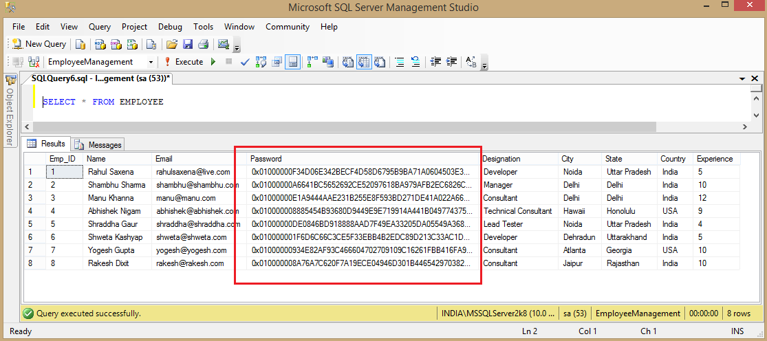 Encrypt and Decrypt Column Value In SQL Server Table