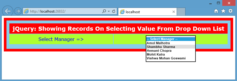 JQuery - Fill DropDown and Show Records in GridView Format