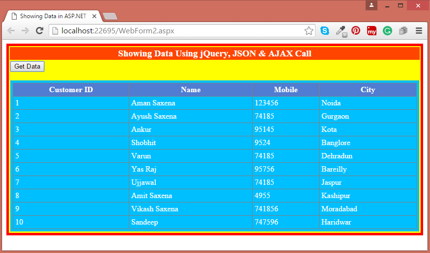 Get data from SQL Server and bind Grid View using jQuery