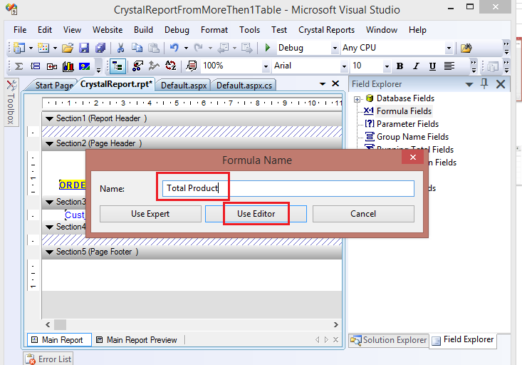 Crystal Report - Showing Sum of a column