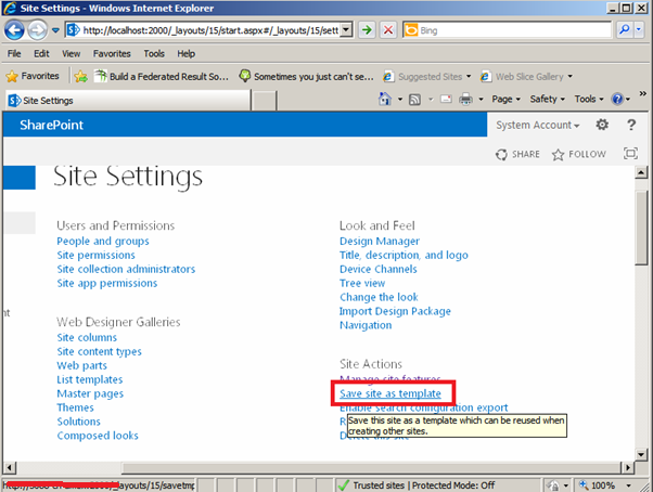 Save Site as Template in SharePoint 2013