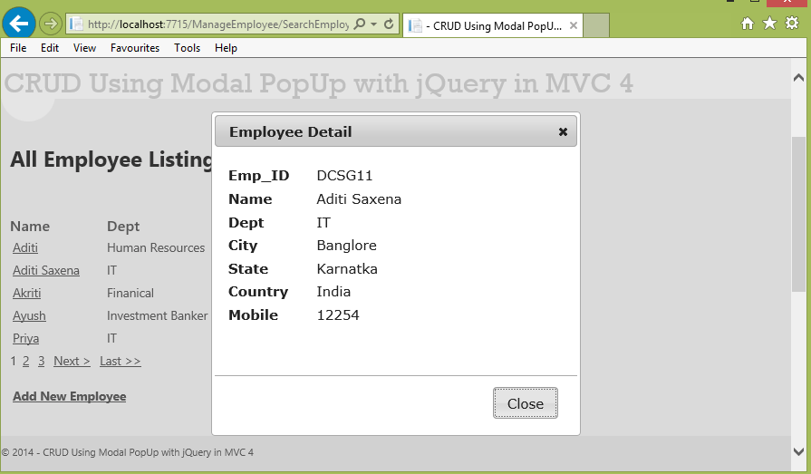 CRUD operation using Modal Popup in ASP NET MVC 4