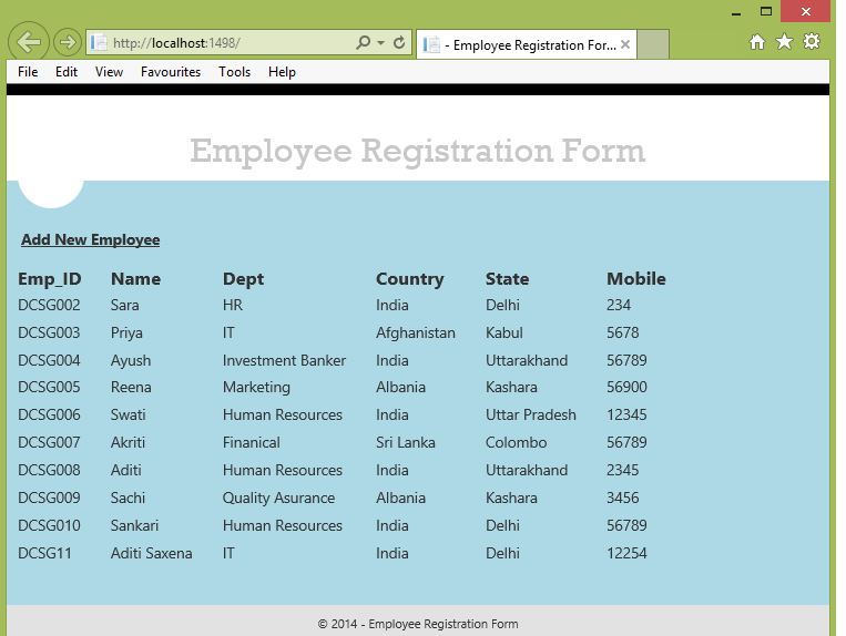 MVC 4 - A Registration Form By Using DropDown List