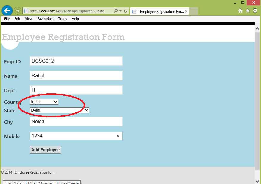 MVC 4 A Registration Form By Using DropDown List – Employee Registration Form