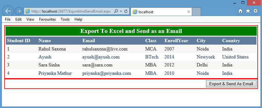 Export and send as an Attachment Grid View Data in ASP NET